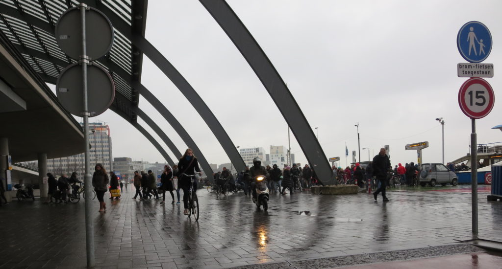Examples of successful bicycle infrastructure: Amsterdam Central Station's Shared Space